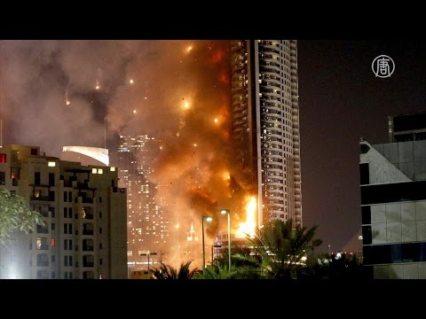 Салют в Дубае прошёл на фоне пожара в отеле (новости)