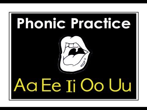 Vowels: Aa, Ee, Ii, Oo, Uu. Pronunciation. English Phonic Practice.